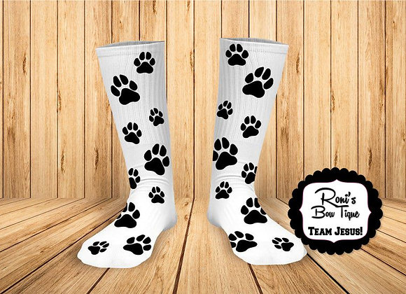 Black Paw Printed Socks  Can Change Sock Color Paw Print
