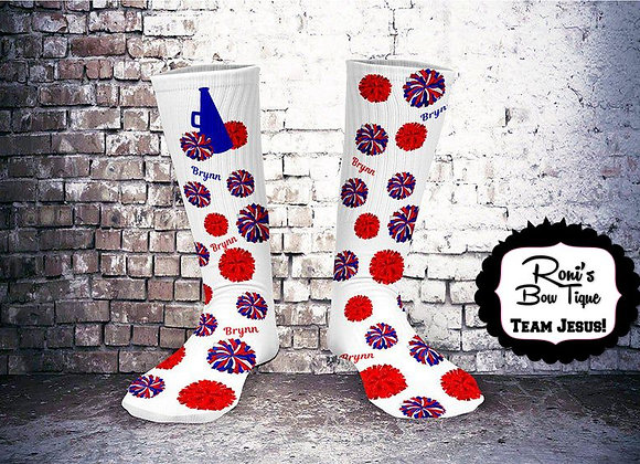 Cheer Spirit Royal Blue and Red print Socks Customized with Your Name
