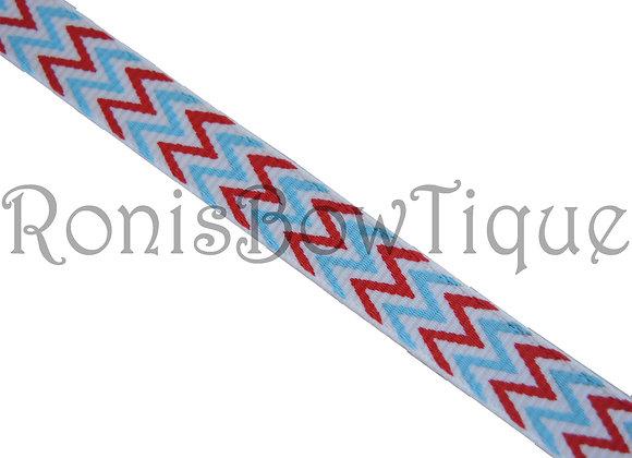 """3/8"""" RED WHITE LIGHT BLUE CHEVRON ZIG ZAG PRINT"""