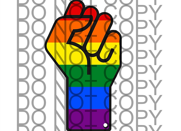 RAINBOW PRIDE MONTH SYMBOL HAND FIST  DIGITAL DOWNLOAD DESIGN PNG