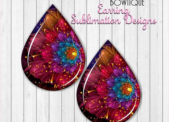 "NEON GLOWING Flowers 2"" Earring Sublimation Design Teardrop PNG Digital download"