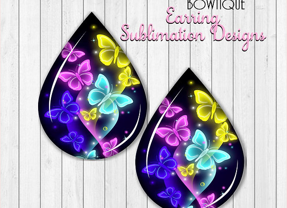 "NEON COLORFUL BUTTERFLY 2"" Earring Sublimation Design Teardrop Download PNG"