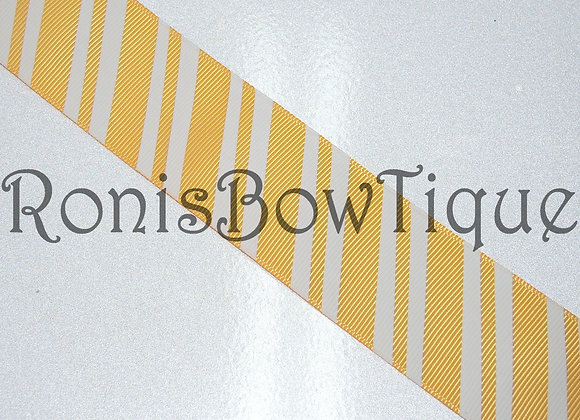 GOLD / WHITE DIAGONAL STRIPES