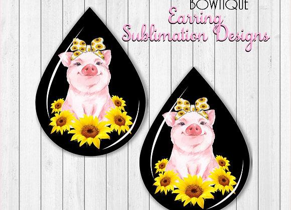 "Sunflower PIG Headband Earring Sublimation Design Teardrop Digital Download 2"""
