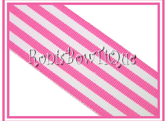Geranium Pink Monarch Stripe Ribbon 1 YARD