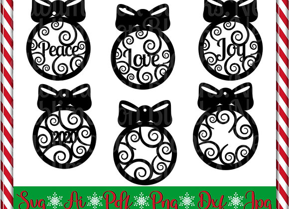 Swirl Christmas Ornament SVG Cut Files Instant Download Clipart Glowforge