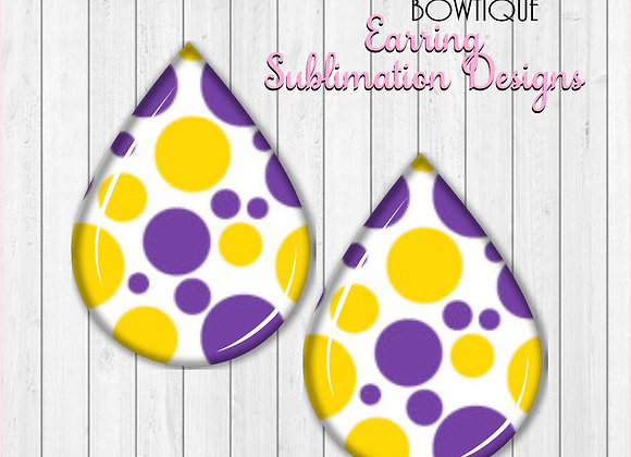 "Purple Gold White Polka Dots Tigers 2"" Earring Sublimation Design TearDROP png"
