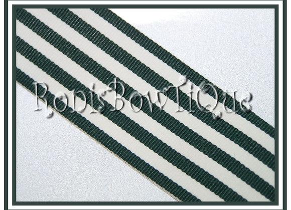 Hunter Green Monarch Stripe Ribbon 1 YARD