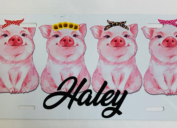 Piggy Pig Monogram Personalized License Plate Car Tag