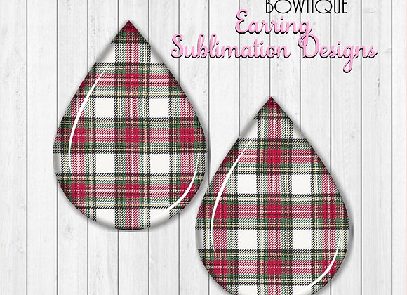 Christmas Tartan Plaid Earring Sublimation Design Teardrop Digital Download 2""