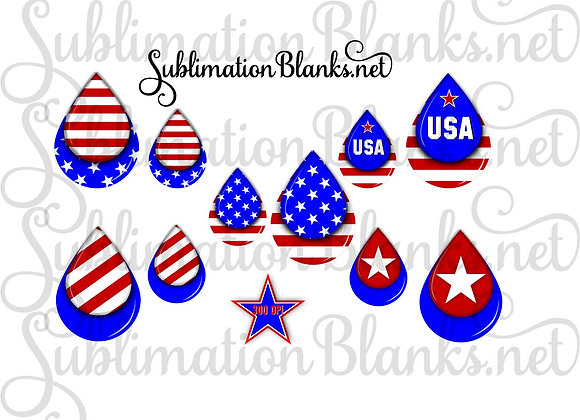 USA AMERICAN FLAG Sublimation Designs TEARDROP DIGITAL DESIGNS 2 AND 3 INCH