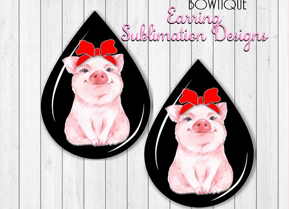 PIG SWINE Headband Earring Sublimation Design Teardrop Digital Download 2""