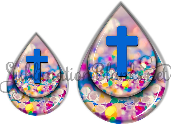CROSS COLORFUL GLITTER Sublimation Designs Teardrop Digital Designs 2 and 3 inch