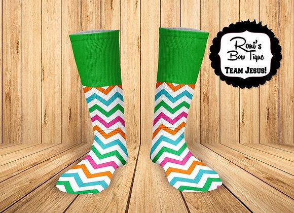 Multi Chevron and Green Printed Socks Fun Socks