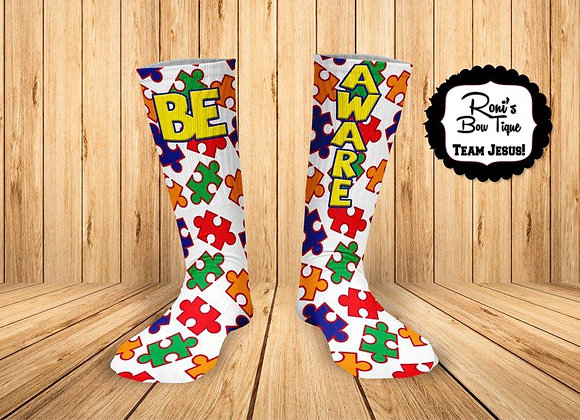 Autism Awareness Puzzle Pieces BE AWARE Printed Socks