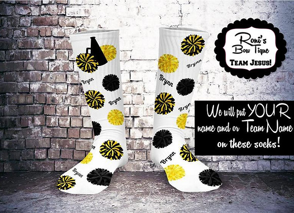 Black & Yellow Personalized Printed Cheer Socks NAME & or Team Socks