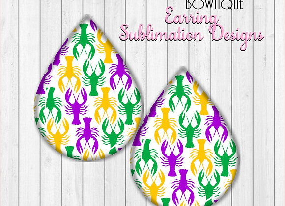 "CRAWFISH MARDI GRAS PURPLE GREEN GOLD 2"" Earring Sublimation Design TearDROP"