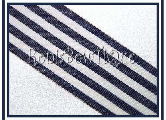 Navy Blue Monarch Stripe Ribbon 1 YARD