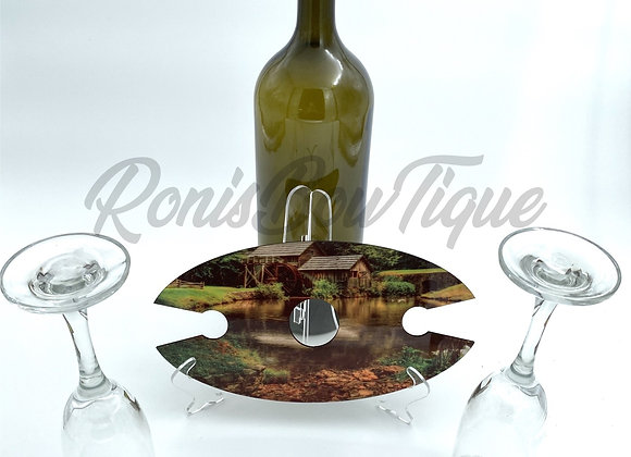 Personalized Wine Butler Caddy Wine Glass Holder Made in the USA