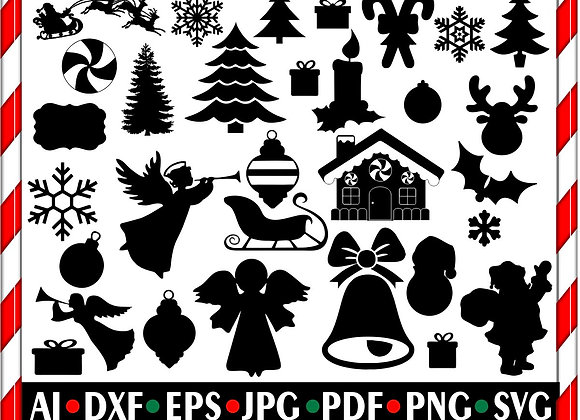 CHRISTMAS CLIPART SVG Cut Files Christmas Tree Candy Cane Reindeer Santa Angelog