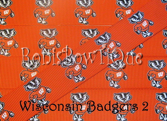 WISCONSIN BADGERS ON RED RIBBON-1 YARD