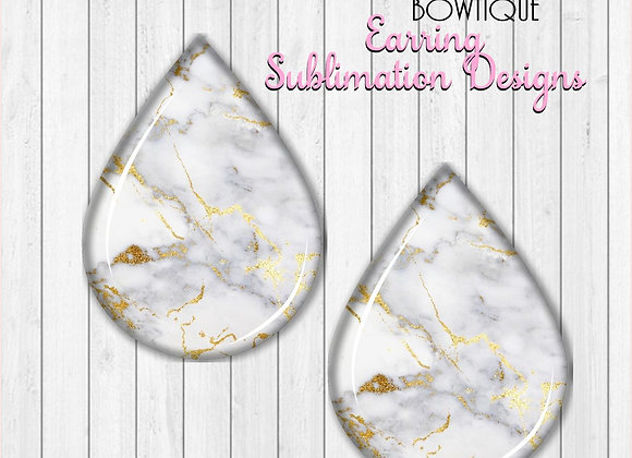 "WHITE GOLD MARBLE 2"" Earring Sublimation Design Teardrop DownLOAD"