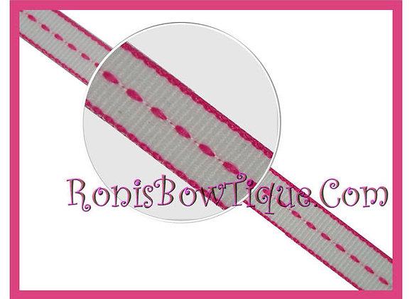 """3/8"""" Hot Pink Stitch Stripe Ribbon - 1 YARD"""