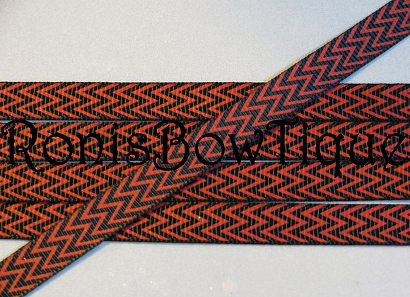 "3/8"" RED BLACK CHEVRON ZIG ZAG PRINT RIBBON"