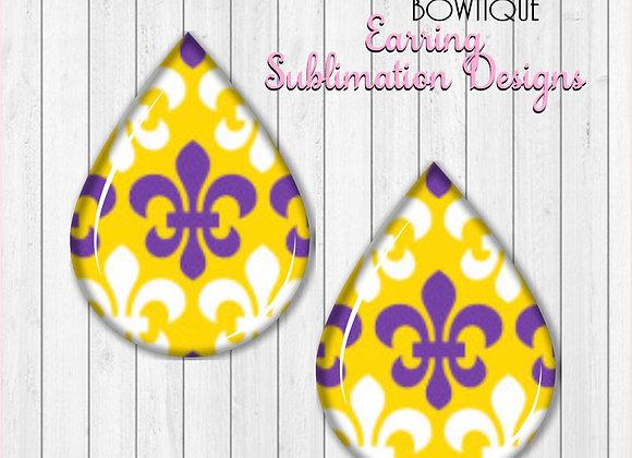 """FLEUR DE LIS Purple Gold White Tigers 2"""" Earring Sublimation Design TearDROP PNG"""