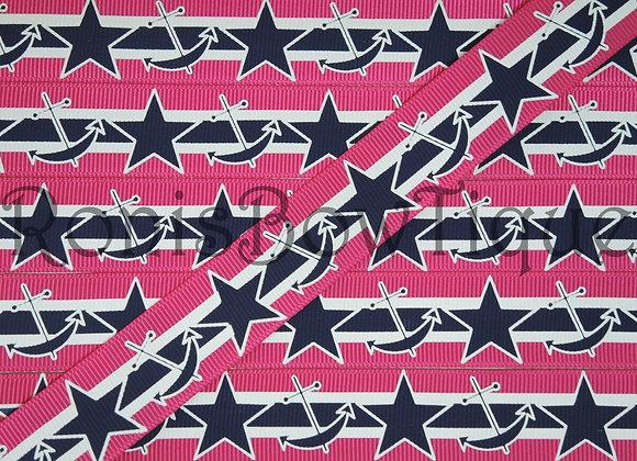 "7/8"" NAVY PINK NAUTICAL ANCHORS STARS"
