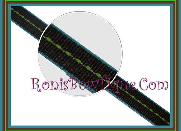 "3/8"" Miami Lime Brownie Stripe Ribbon - 1 YARD"