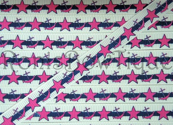 "3/8"" NAVY PINK NAUTICAL ANCHOR STARS"