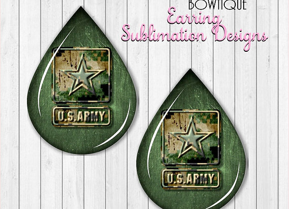 "US ARMY GREEN SOLDIER 2"" Earring Sublimation Design TearDROP PNG"
