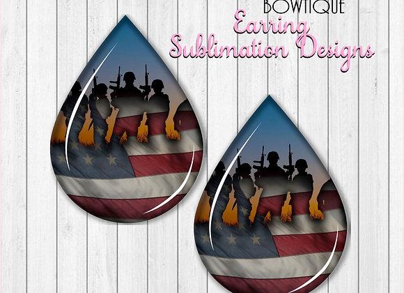 "AMERICAN FLAG HERO SOLDIERS 2"" Earring Sublimation Design TearDROP PNG"