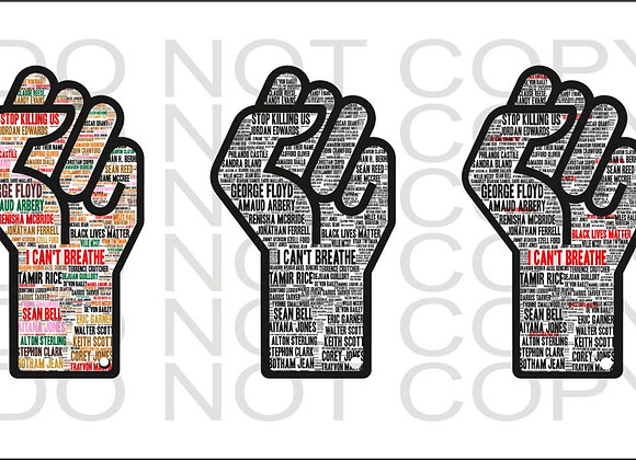 2 INCH EARRINGS BLACK LIVES MATTER HAND FIST NAMES DIGITAL DESIGN DOWNLOAD PNG