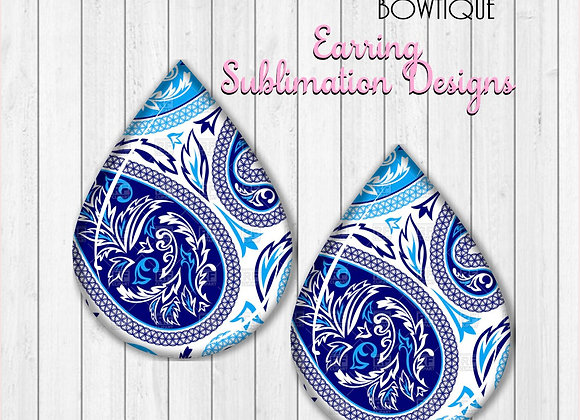 "BLUE AND WHITE PAISLEY PRINT 2"" Earring Sublimation Design TearDRop download"