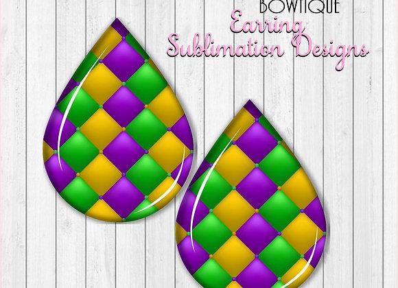 "MARDI GRAS DIAMOND PATTERN 2"" Earring Sublimation Design TearDROP"
