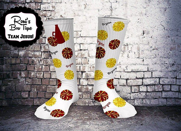 Cheer Spirit Maroon and Gold Printed Socks Customized with Your Name