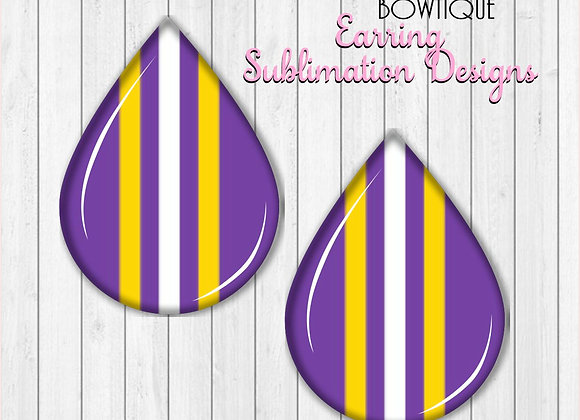"PURPLE GOLD WHITE STRIPES TIGERS 2"" Earring Sublimation Design TearDROP"