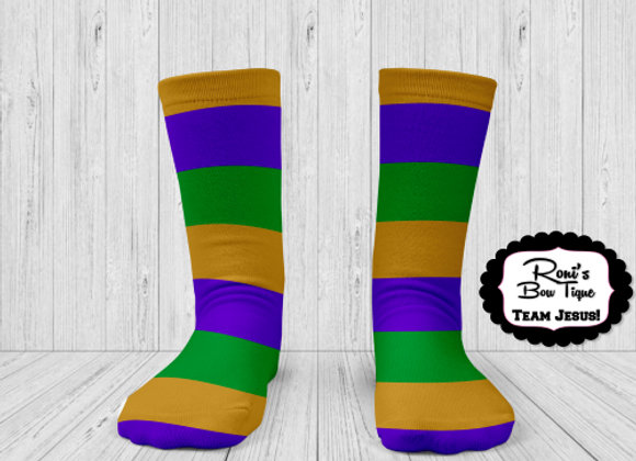 MARDI GRAS PURPLE GREEN GOLD Stripes Party Printed Socks Fun S