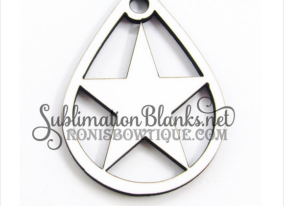 STAR DALLAS COWBOY Teardrop SUBLIMATION BLANKS EARRING BLANKS MDF
