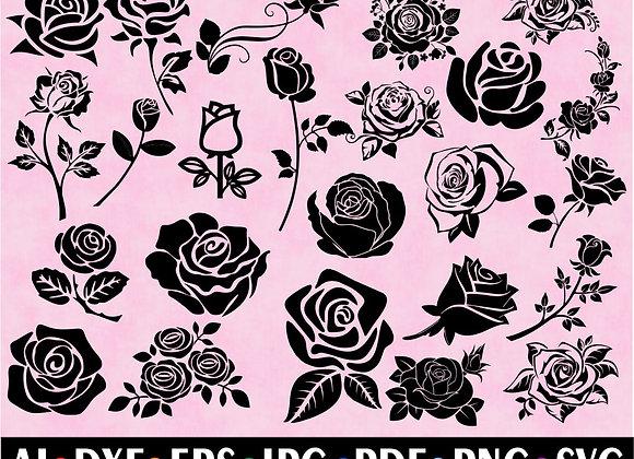 Rose Flowers SVG Cut Files ClipArt Bundles