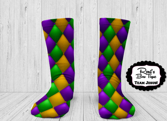 MARDI GRAS PURPLE GREEN GOLD Quilted DIAMONDS  PRINTED SOCKS  Printed Socks