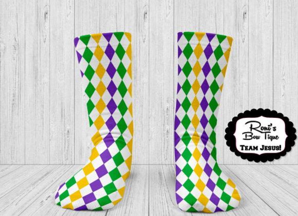 MARDI GRAS PURPLE GREEN GOLD DIAMONDS PRINTED SOCKS  Printed Socks Fun Socks