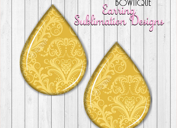 "GOLD YELLOW DAMASK PRINT 2"" Earring Sublimation Design TearDROP DIGITAL DOWNLOAD"