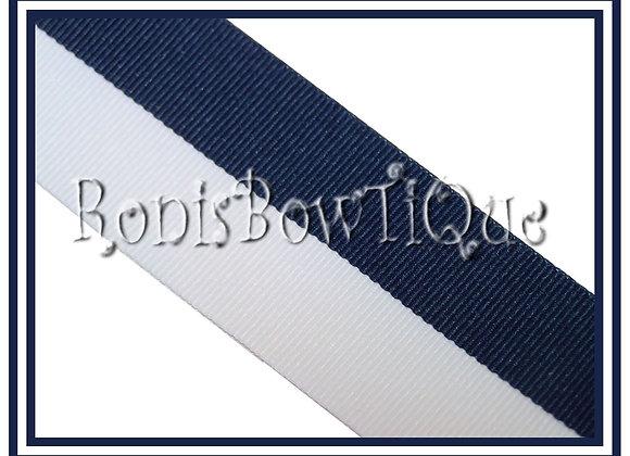 Navy Blue White Bi Stripe Cheer Collegiate Ribbon