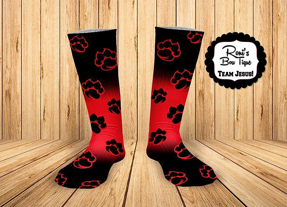 Tiger Paw Black and Red printed Socks- Basile Bearcats Spirit Socks