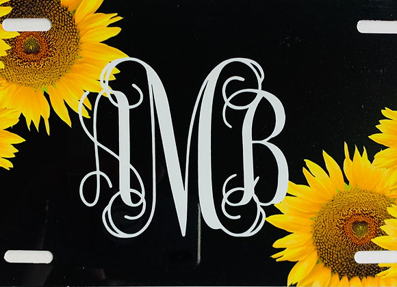 Monogram Sunflower on Black Personalized License Plate Car Tag