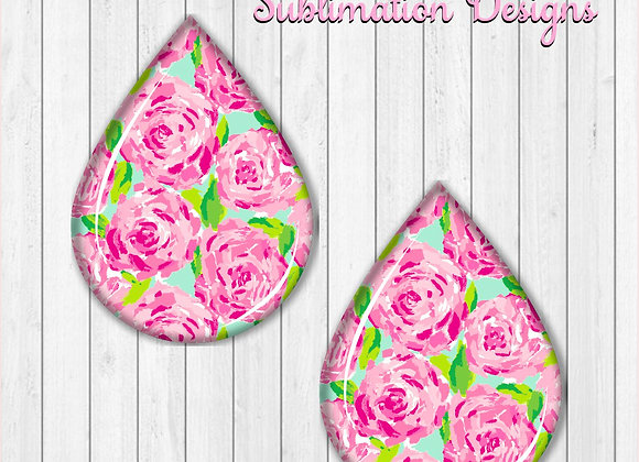 "ROSES FLOWERS PINK GREEN 2"" Earring Sublimation Design TearDROP Digital download"
