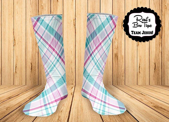 Pastel Plaid - printed Sock Great Gift